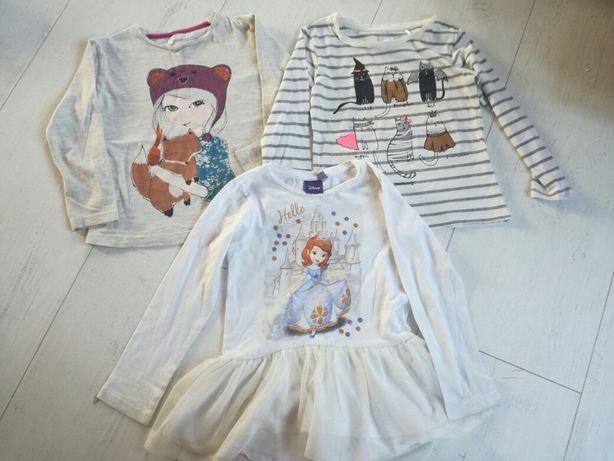 3 t-shirty/ bluzeczki z długim rękawem r. 104