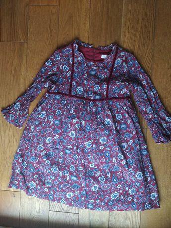 Bordowa sukienka w kwiaty 7-8 lat Made in Portugal. Firma Zy