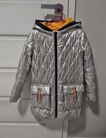 Płaszcz płaszczyk kurtka parka wiosenny Mała Mi 134-140 srebrna