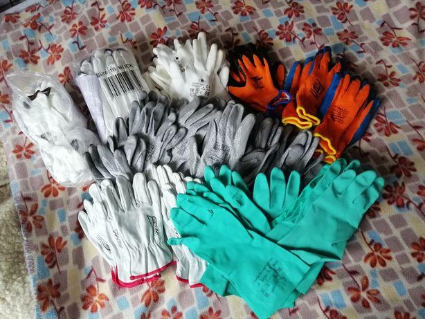52 pary rękawic roboczych, różne rodzaje - gumowe, skórzane ZESTAW