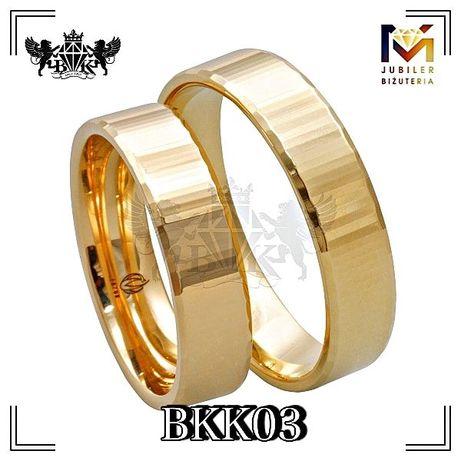 obrączki złote para proste , prostokątne próba 333 8K szerokość 3 mm