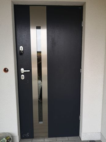 Drzwi zewnętrzne Gerda stalowe kolor antracyt