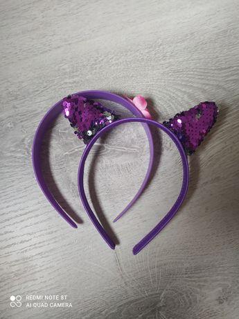 Opaski fioletowe dla dzieci na głowę uszy kotka, doktor Dosia, cekiny