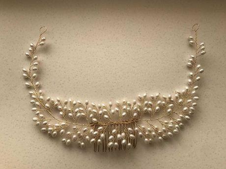 Свадебное украшение для волос, веточка в прическу, гребень.