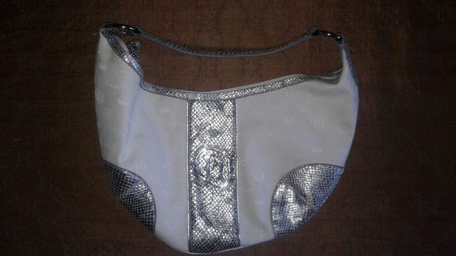 Torebka biało- srebrna
