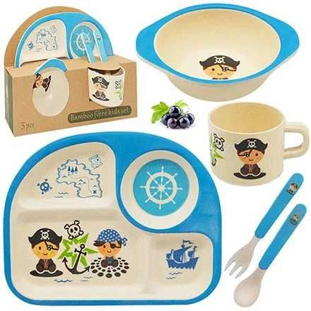 Бамбуковая посуда тарелка чашка 5 предметов