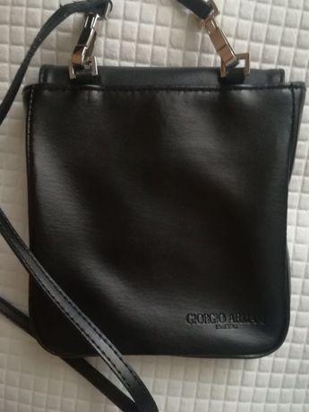 Oryginalna, czarna, skórzana torebka Giorgio Armani