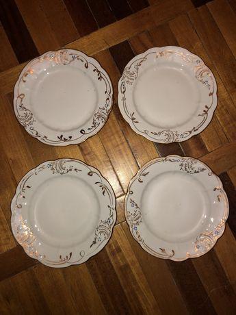Набор 12 десерт тарелок с золотом