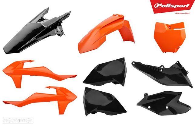 kit plasticos polisport laranja / preto ktm exc-f 250 / 350 / 450