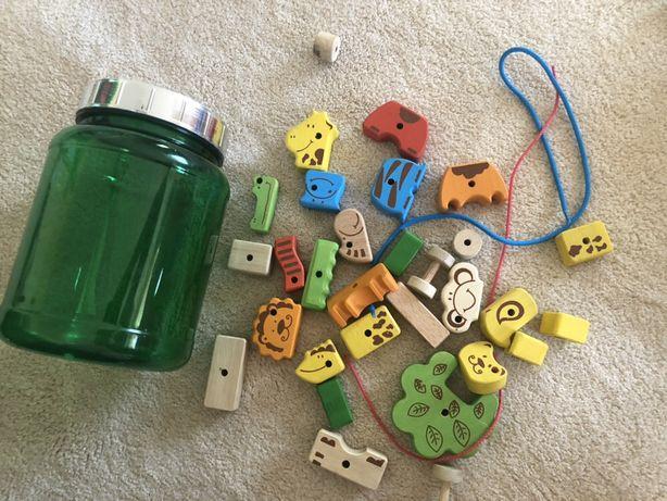 Деревянный конструктор шнуровка кубики животные развивающие игрушки