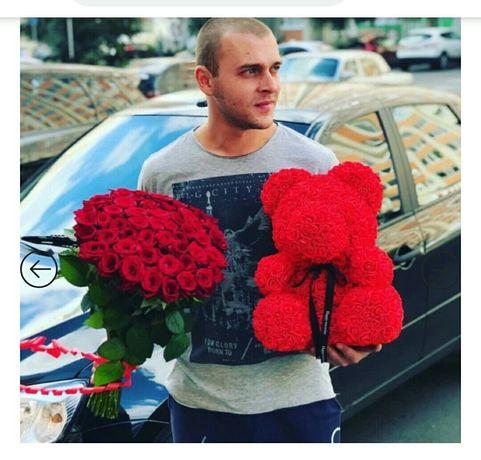 Мишка из 3D роз 25 см  Подарок любимым Тедди из роз. на 8 марта юбилей
