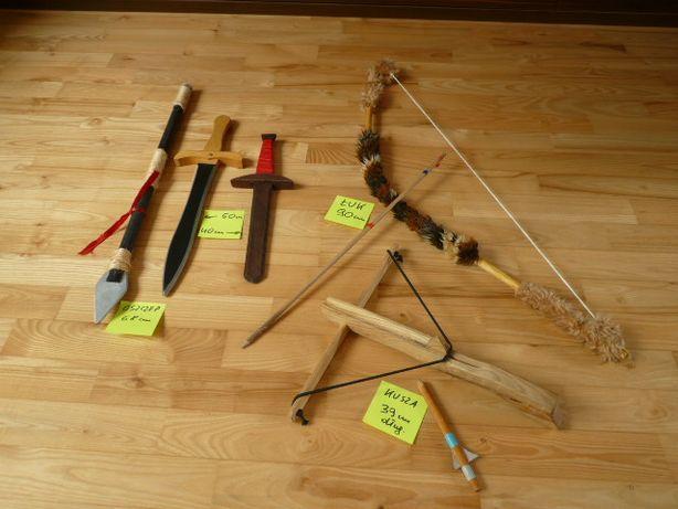 Kusza łuk miecz oszczep dzida drewniane dla małego rycerza