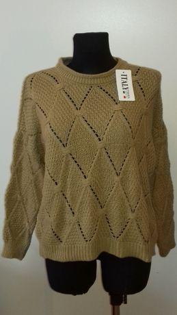Sweterek damski jasnobrązowy, nowy, rozmiar uniwersalny, najtaniej