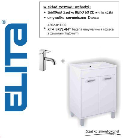 Zestaw umywalka szafka i bateria Elita