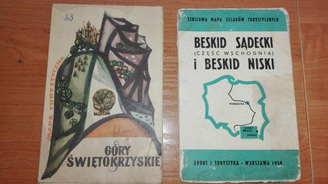Stare Mapy rarytas - Góry Świętokrzyskie i Beskid Sądecki i Niski