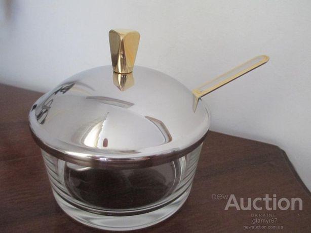 Сахарница GOTTINGHEN ITALY. сталь с золотом 24 Карат+ ложечка. клеймо