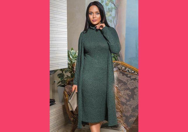Теплый женский костюм с платьем ангора модный стильный