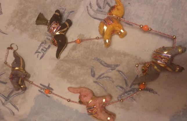 hade made ручная работа фигура слоны на веревке индия ткань