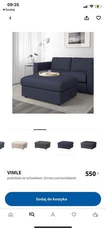 Podnóżek Vimle IKEA granatowy ze schowkiem pufa siedzisko