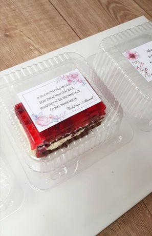 Personalizowana naklejka na podziękowanie dla gości - ciasto
