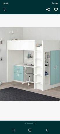Łóżko piętrowe z materacem, biurkiem,szafą, lakobelem