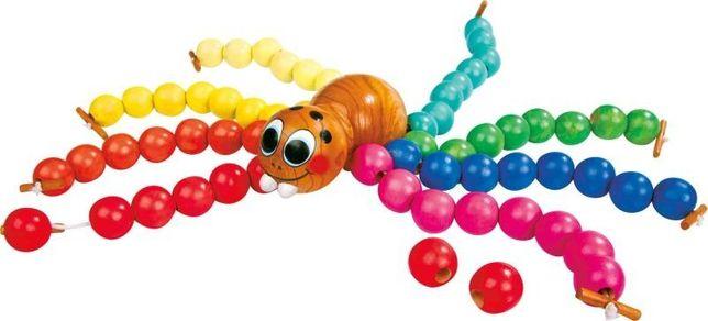 Zabawka Montessori Pająk Small Foot do nawlekania kulek NOWY