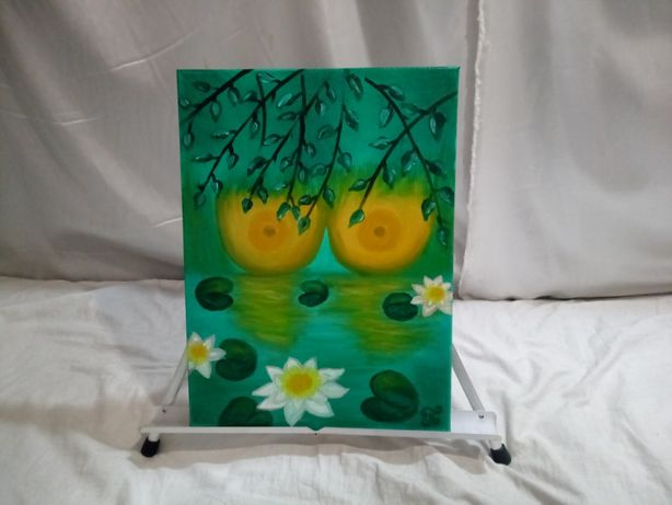 Картина ,, Две луны ,, 30x40 масло , холст на подрамнике .