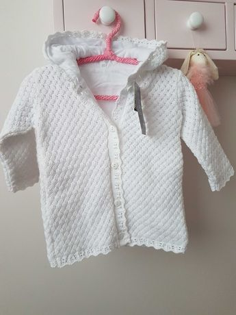 FIRMOWY Sweterek Eko roz. 80 chrzest, wiosenny