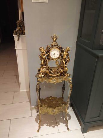 Zegar mosiężny mosiądz figuralny anioły wahadło kominkowy