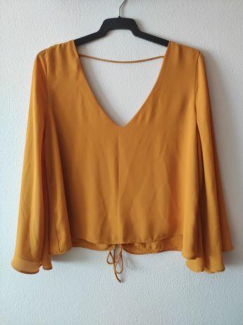 Blusa cor mostarda, Zara, tamanho L