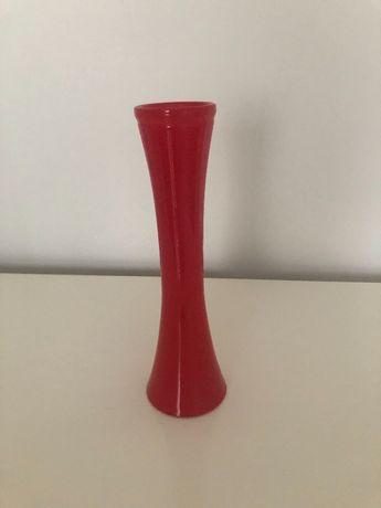 Czerwony wazon szkło PRL