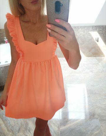 Sukienka pomarańczowa łosoś brzoskwiniowa wings La Manuel Xs, S, M