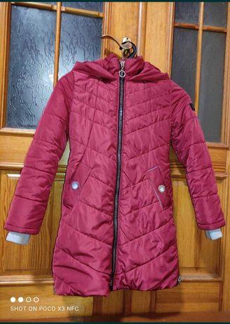 Кирпичное зимнее пальто р.36