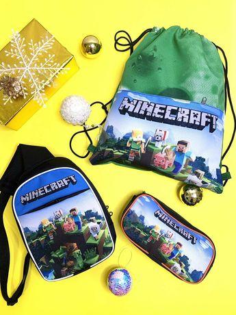 Набор Майнкрафт Minecraft сумочка, пенал и рюкзак для сменки роз и опт