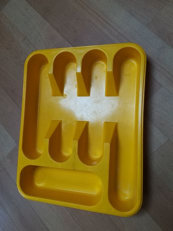 Pojemnik na sztućce, tacka do szuflady, sortownik żółty