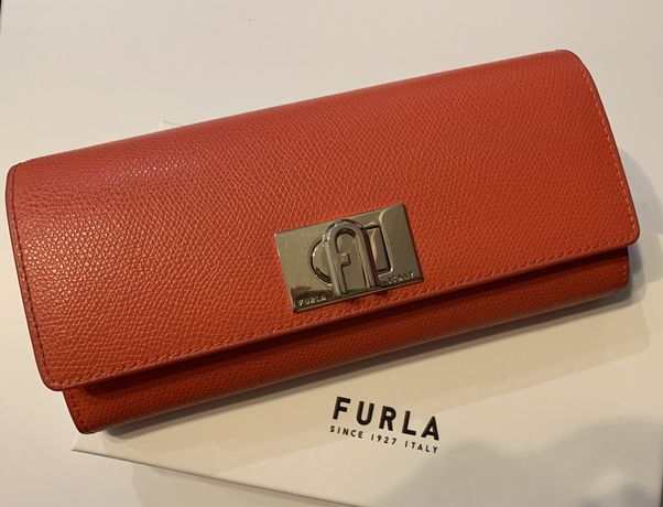 Furla 1927 Fuoco Red oryginalny portfel skórzany