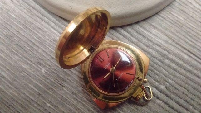 ZARIA Pozłacany zegarek kieszonkowy Vintage Prl prezent święta