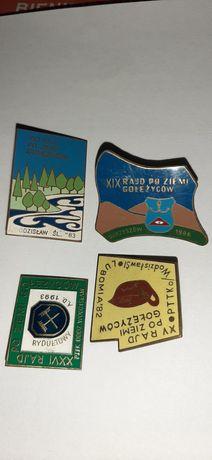 Stare odznaki 1982 -1986 Rajd po ziemi Golezycow  Wodzisław Lubomia