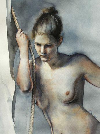 Обнаженная девушка картина акварелью в рамке