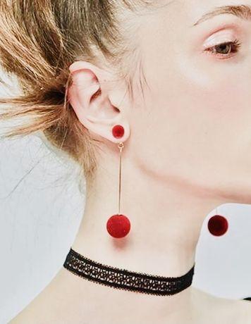 Серьги красные висячие длинные кульчики червоні