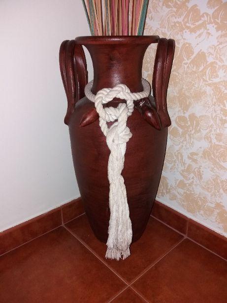 Vaso decorativo barro rustico com corda