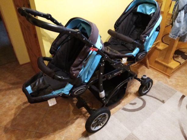 Wózek bliźniaczy BabyAktiwe Twinni 3x1 cały komplet