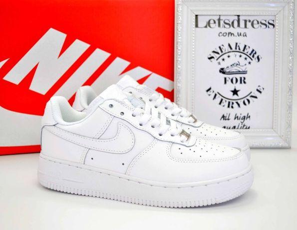 Nike Air Force White Limited Кроссовки женские кожаные Найк Аир Форс