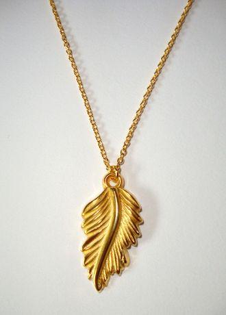 Złoty naszyjnik z listkiem łańcuszek przywieszka zawieszka karabińczyk