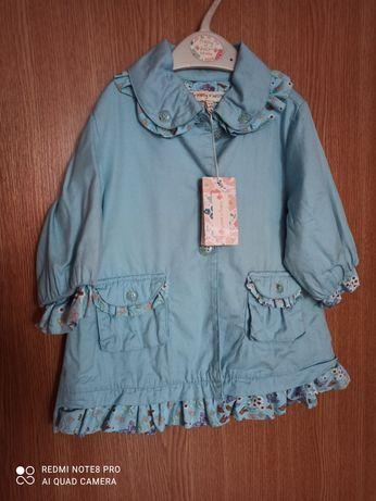 Płaszczyk letni turkusowy dla dziewczynki 74 cm Molly n' Jack