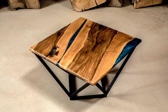 Stolik kawowy,  loft, retro, industrialne, lite drewno, żywica. Orzech