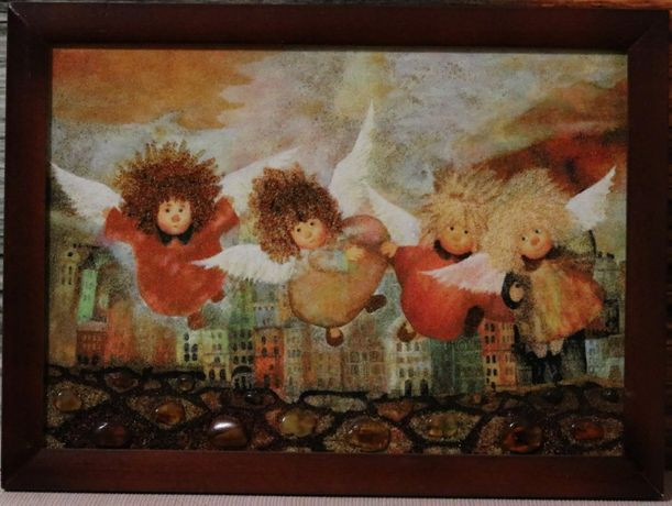 Картины из янтаря, картина з бурштину ангели, подарунок
