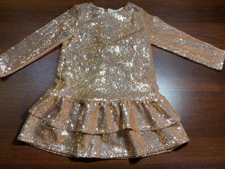 Шикарное нарядное платье для девочки 3-5 лет пайетки паетки Италия