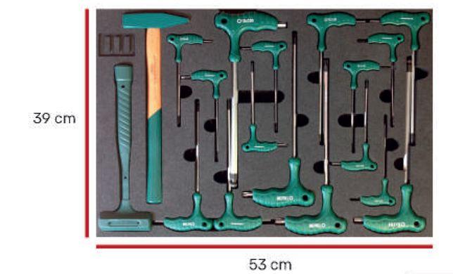 Tabuleiro ferramenta- chaves em L e Martelos em espuma EVA V Jonnesway
