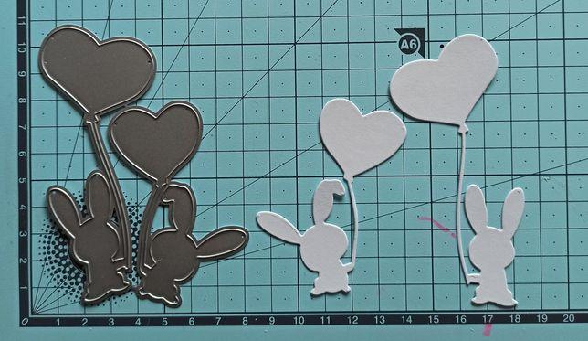Wykrojnik króliczki zajączki serduszko balonik big shot scrapbooking